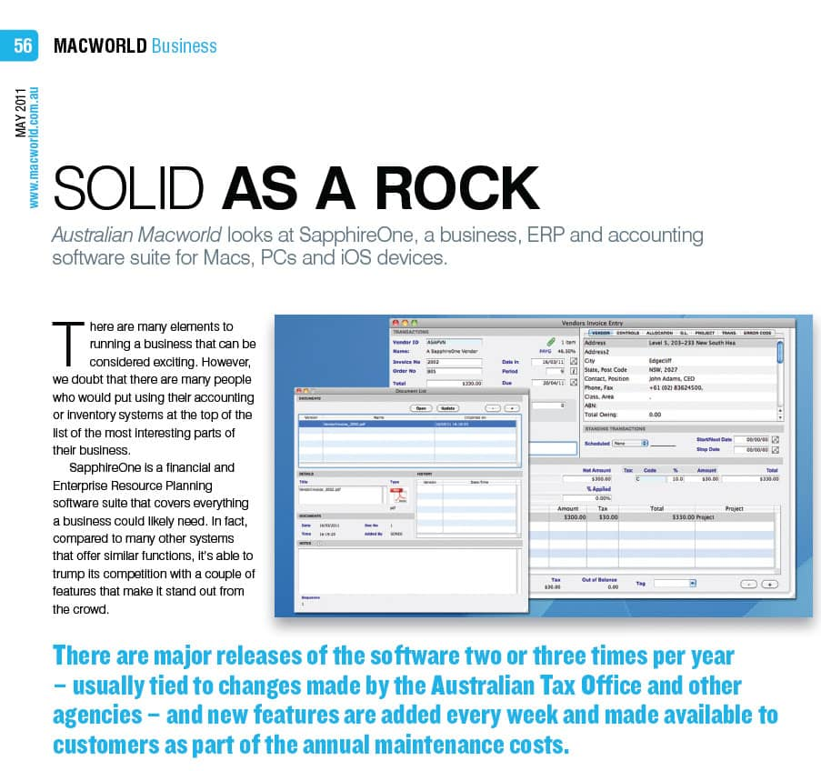 MacWorld Review | SapphireOne ERP CRM Accounting Software