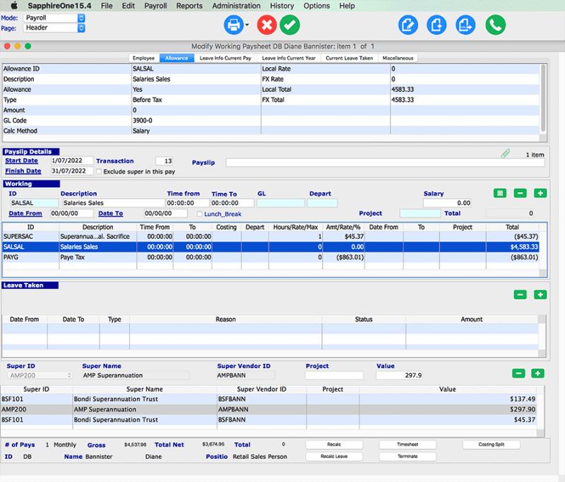 Payroll HR working transactions mac