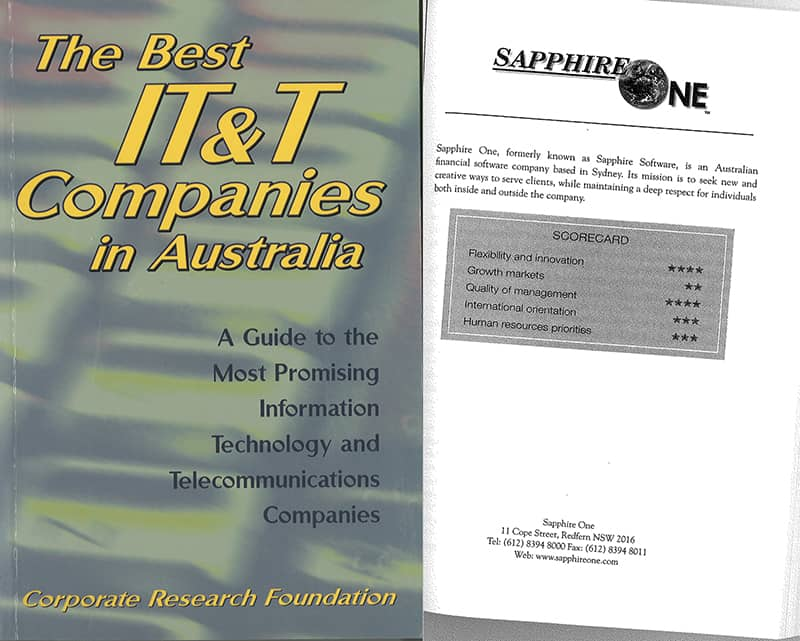 sapphire accounting-software recognise inside the best IT companies in Australia 2001
