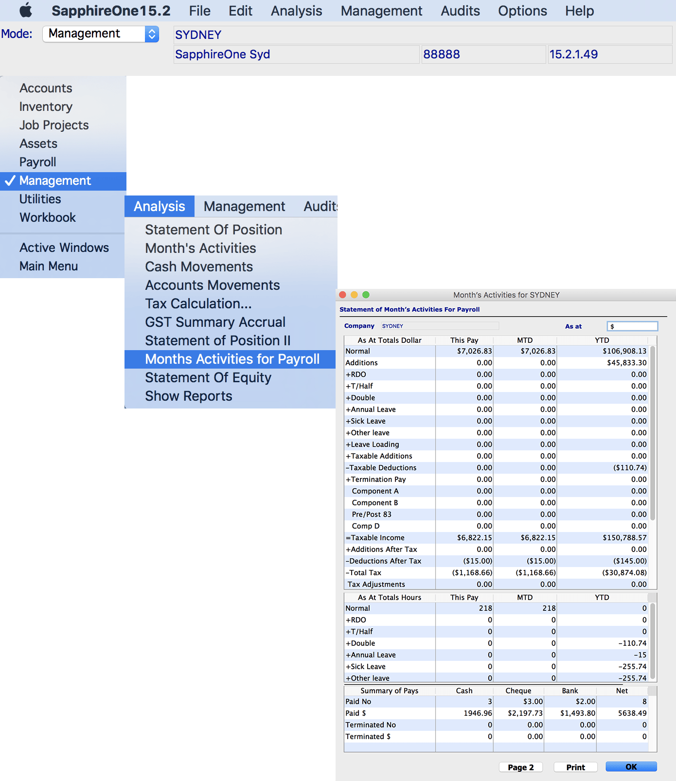 SapphireOne Accounting Software management analysis section for mac