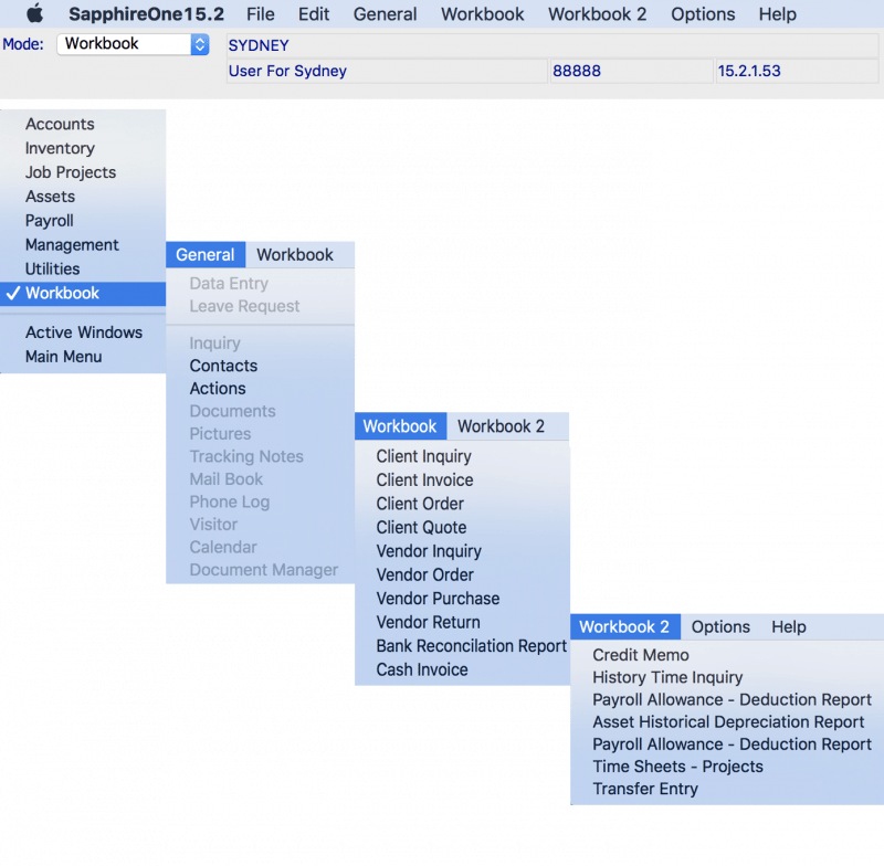 SapphireOne accounting software workbook mac