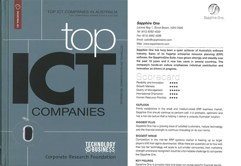 SapphireOne among top ICT companies in Australia - news from 2003