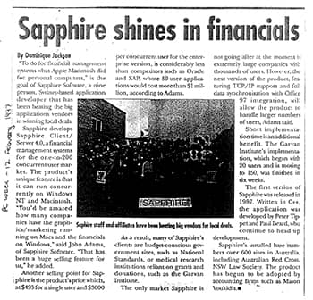 Sapphire shines in financials The Australian Newspaper 1997