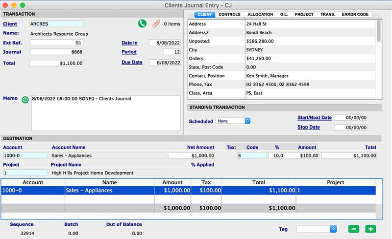 SapphireOne Accounts Receivable clients journal mac