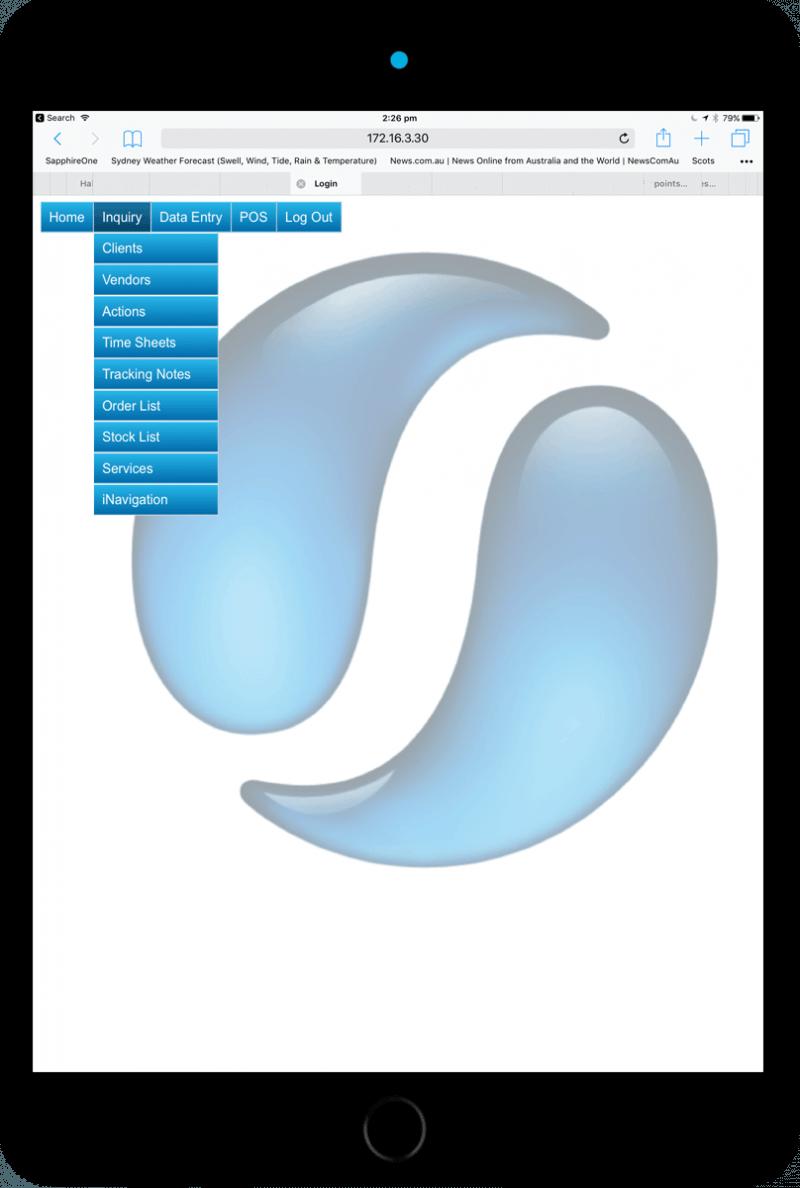 Sapphire Web Pack standard inquiry iPad