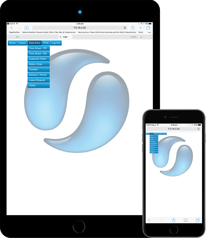 SapphireOne Webpack support iPhones, iPads, Android Smartphone's & Tablets