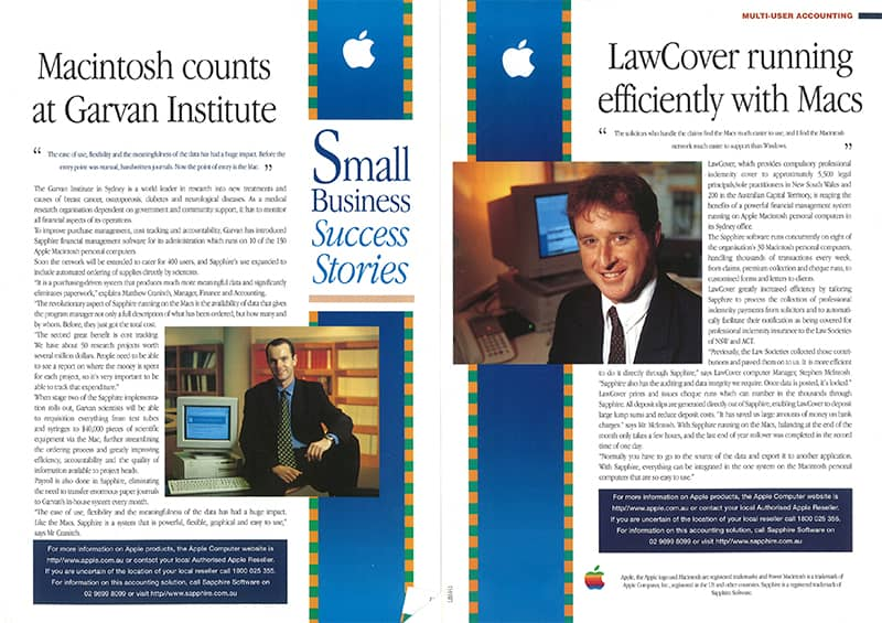 sapphire software-featured in Apple news- multiuser accounting software- small business success-stories-1996