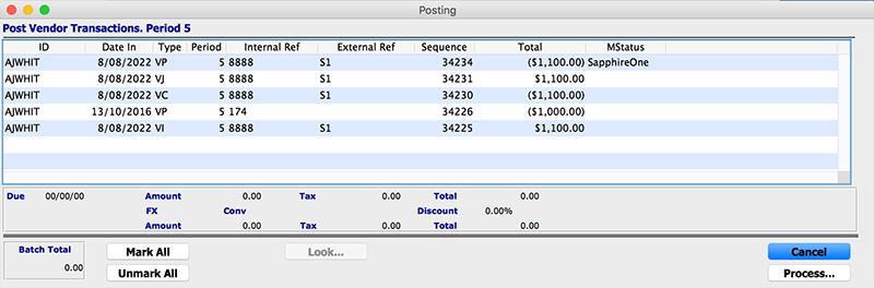 SapphireOne Accounts Payable post transaction vendor for mac