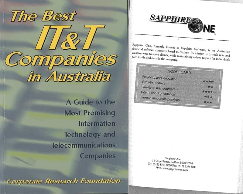 Sapphire Accounting Software recognise inside the best IT companies in Australia 2001
