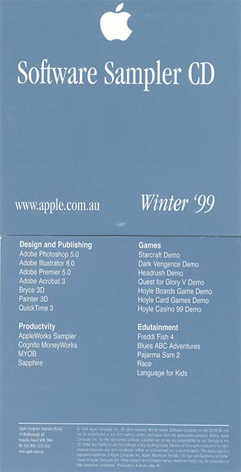 Sapphire software in Apple software sampler cd 1999