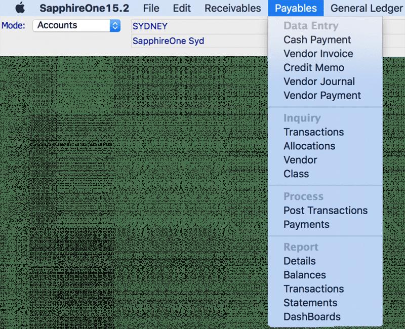 SapphireOne Accounts Payable mac