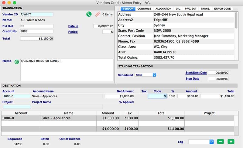 SapphireOne Accounts Payable credit memo VC for mac