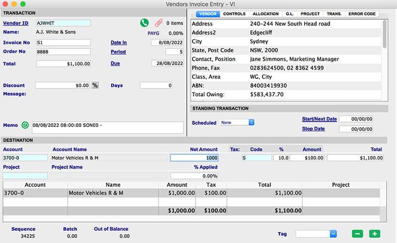 SapphireOne Accounts Payable vendor invoice VI for mac
