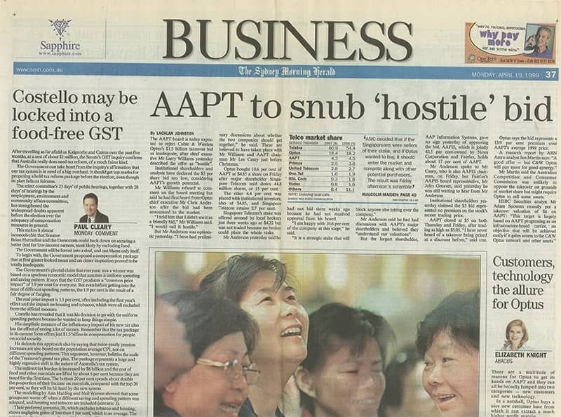 Sapphire advertisement the Sydney Morning Herald 1999