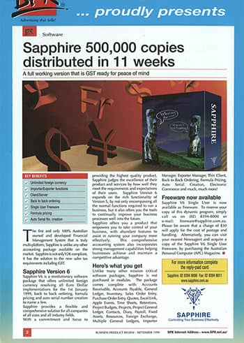 SapphireOne BPR News 1999