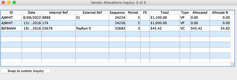 SapphireOne Accounts Payable vendor allocation inquiry for mac
