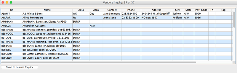 SapphireOne Accounts Payable vendor inquiry for mac