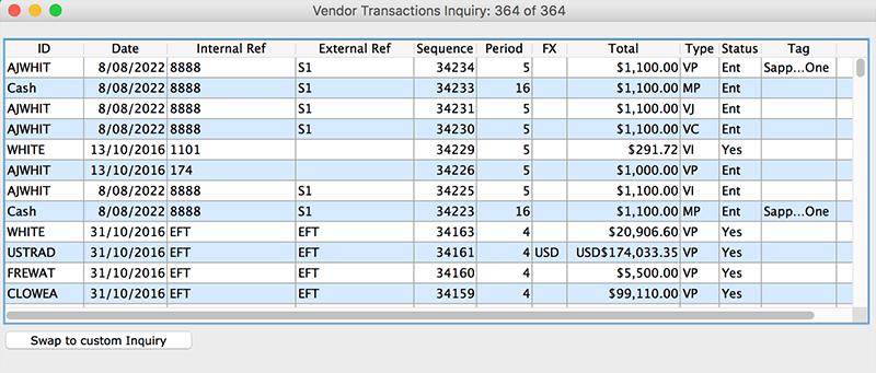 SapphireOne Accounts Payable vendor transaction inquiry for mac
