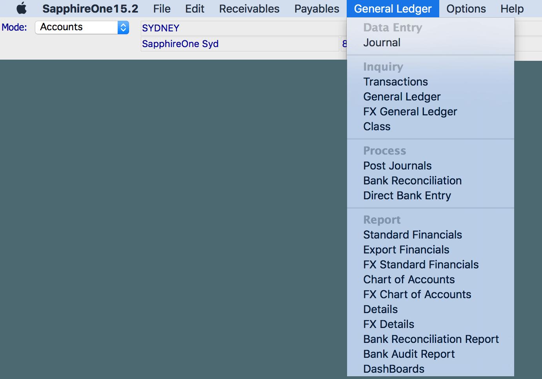 SapphireOne Accounts - general ledger menu for mac