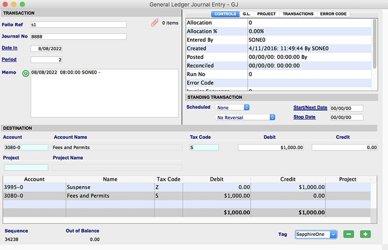 SapphireOne general ledger data entry for mac