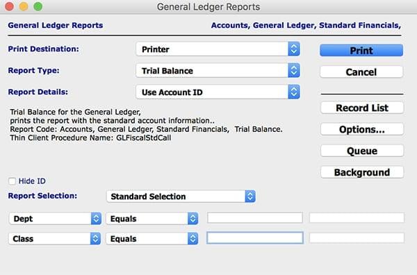 General ledger report mac
