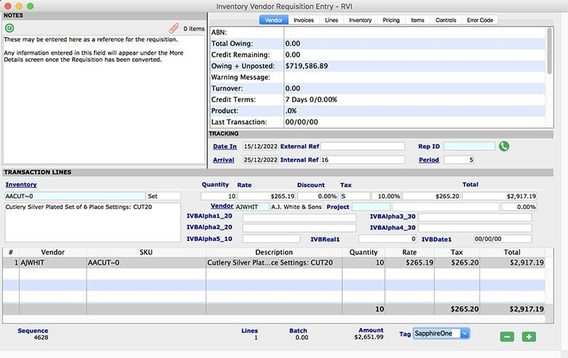SapphireOne inventory management purchases vendor requisition mac