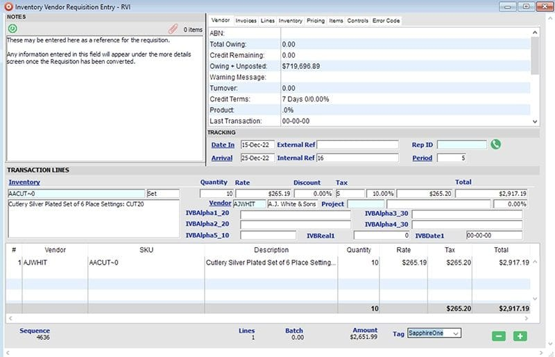 sapphireone-inventory-management-purchase-vendor-requisition-windows