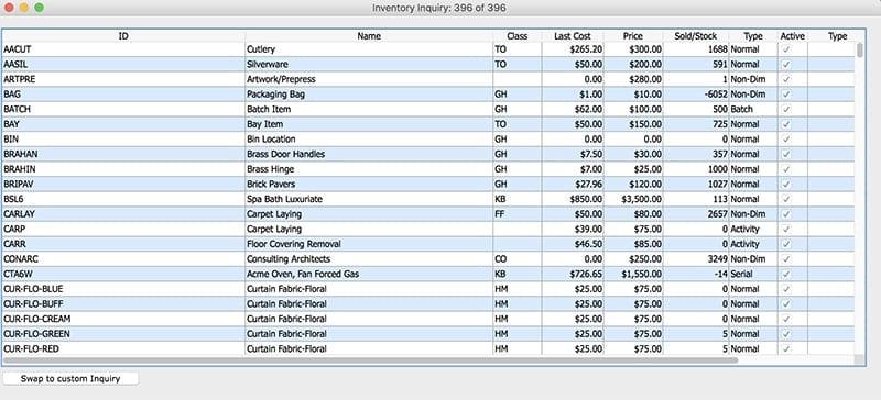 SapphireOne Inventory Management Inventory Inquiry  mac