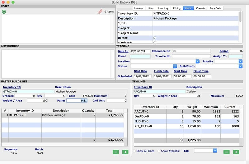 SapphireOne Inventory Management build Entry mac