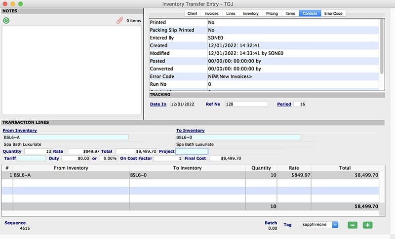 SapphireOne Inventory Management transfer Entry mac
