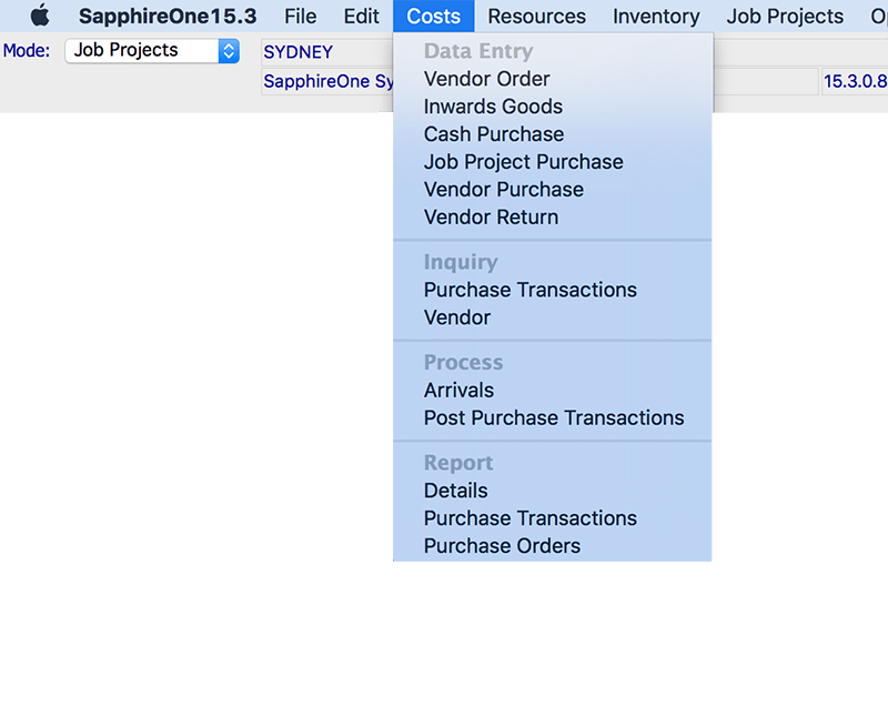 SapphireOne job projects costs module mac