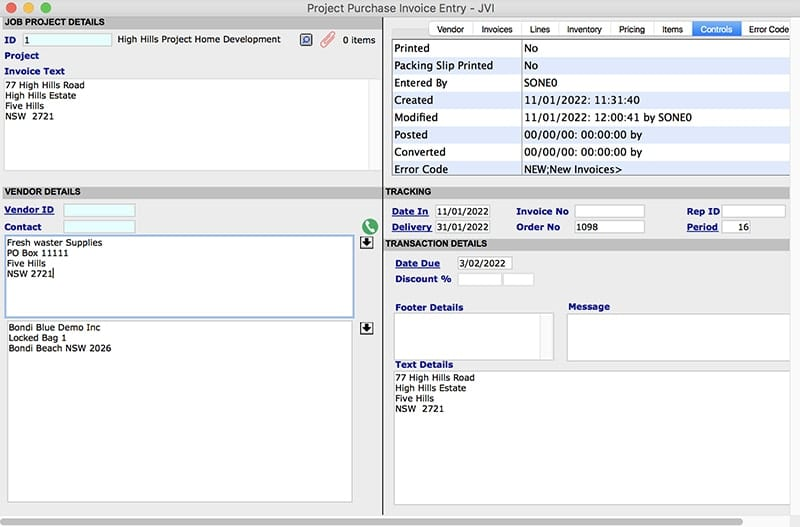 SapphireOne job projects costs module project purchase invoices mac