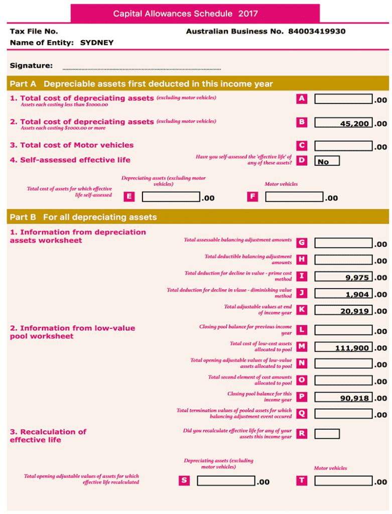Asset report Capital allowances schedule