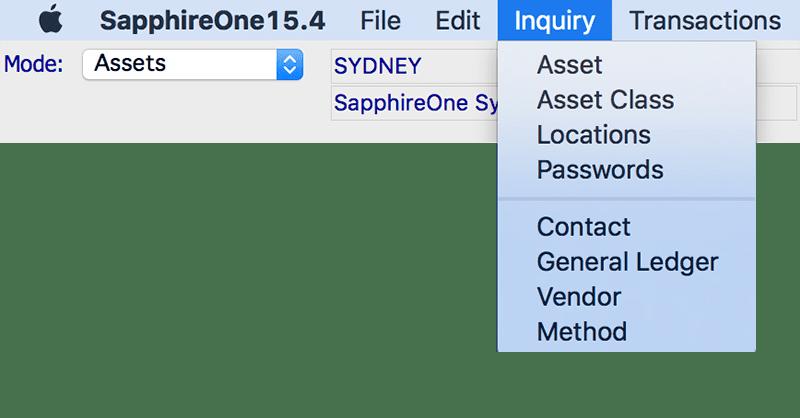 SapphireOne Assets inquiry module mac