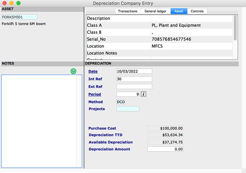 asset transactions Depreciation company mac