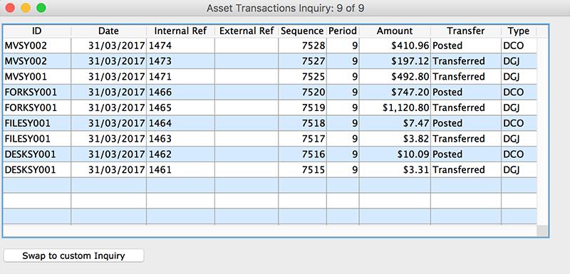 asset transactions inquiry mac