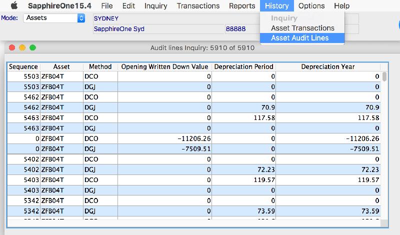 assets history module asset audit lines reports mac