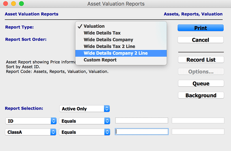 assets module  with reports Asset Valuation mac