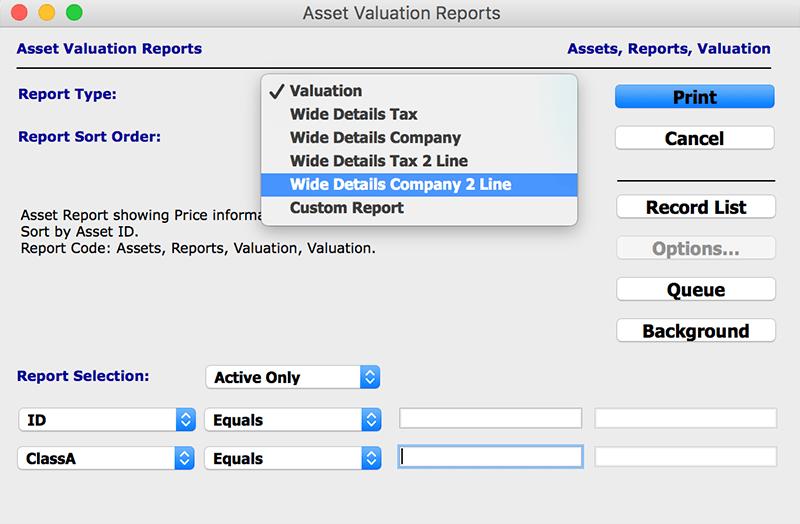 assets module Asset Valuation mac