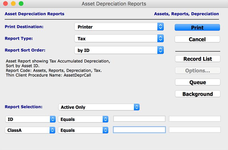 assets reports asset depreciation mac