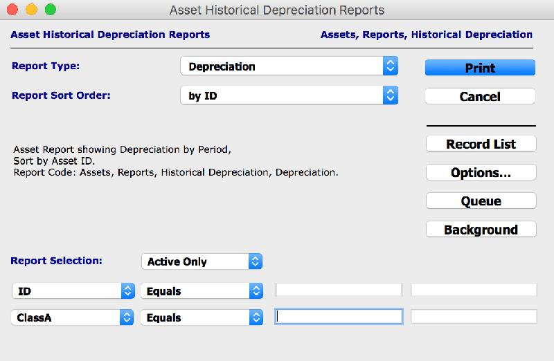 assets reports asset historical depreciation mac