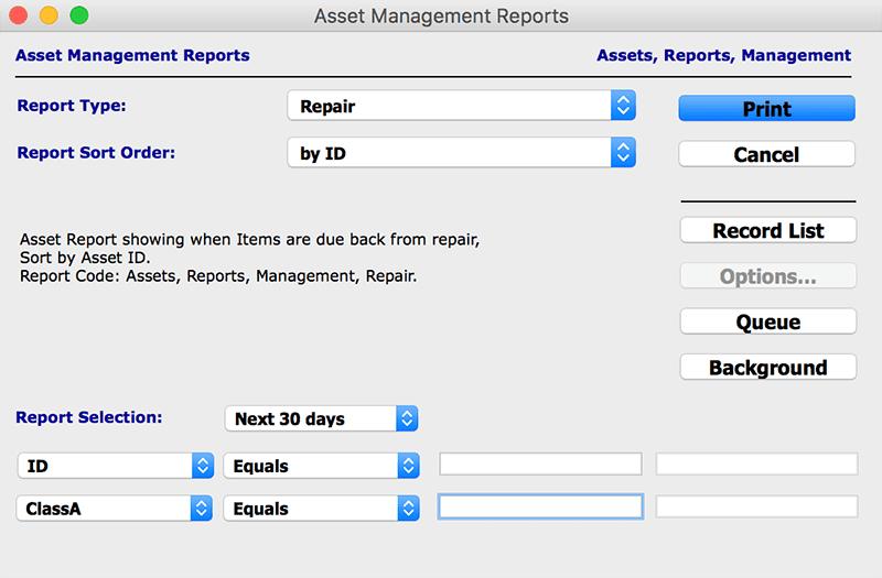 assets reports asset management mac