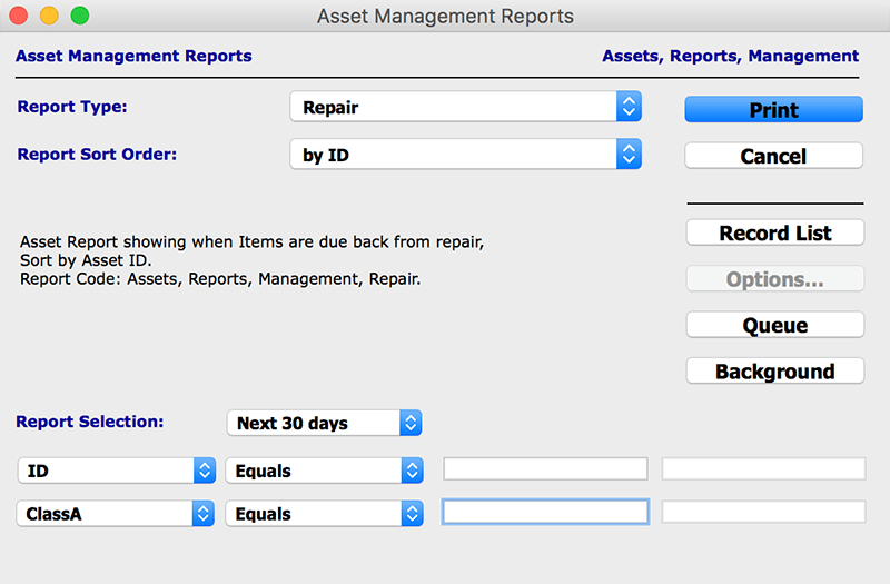 assets report asset management mac