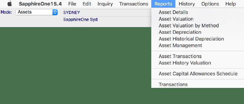 assets reports module mac