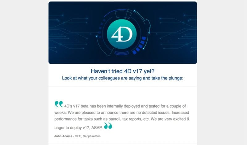 4D's v17 beta has been internally deployed and tested at SapphireOne ERP Software