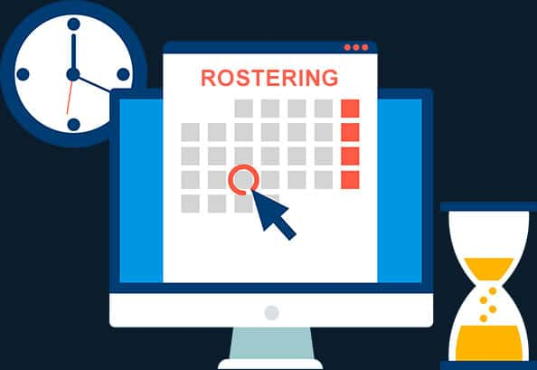 Rostering and payroll within the one datafile.