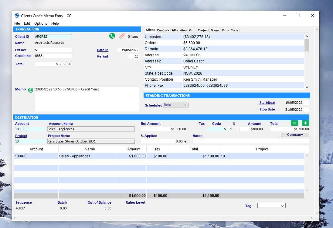SapphireOne Accounts Receivable clients credit memo mac